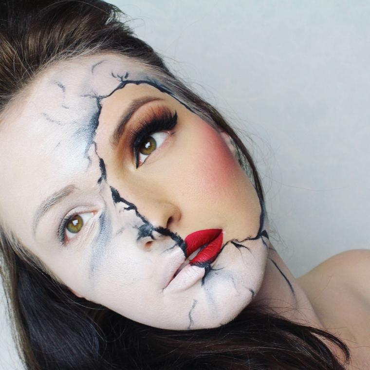maquillage-halloween-inspiré-visage-cassé