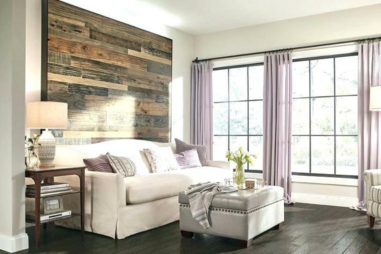 salon avec mur daccent en bois