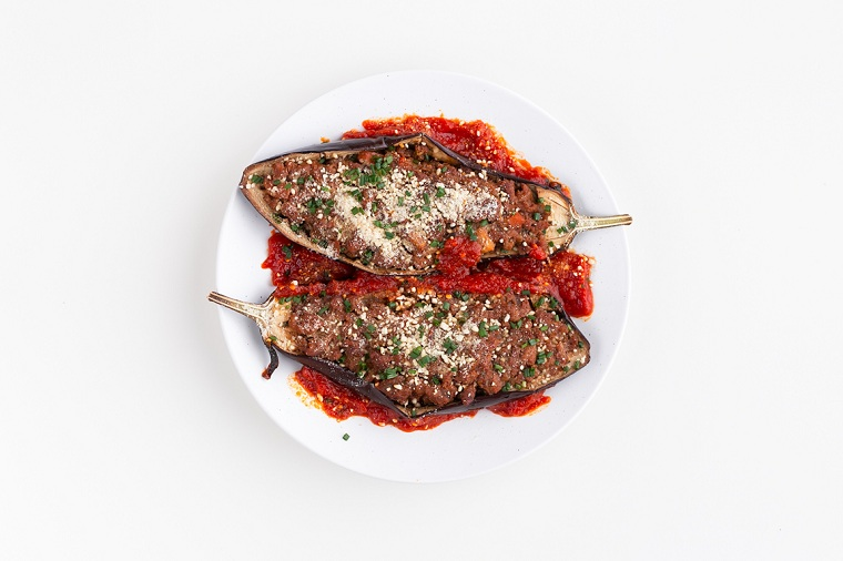 aubergine farcie-recette végétalienne-délicieux