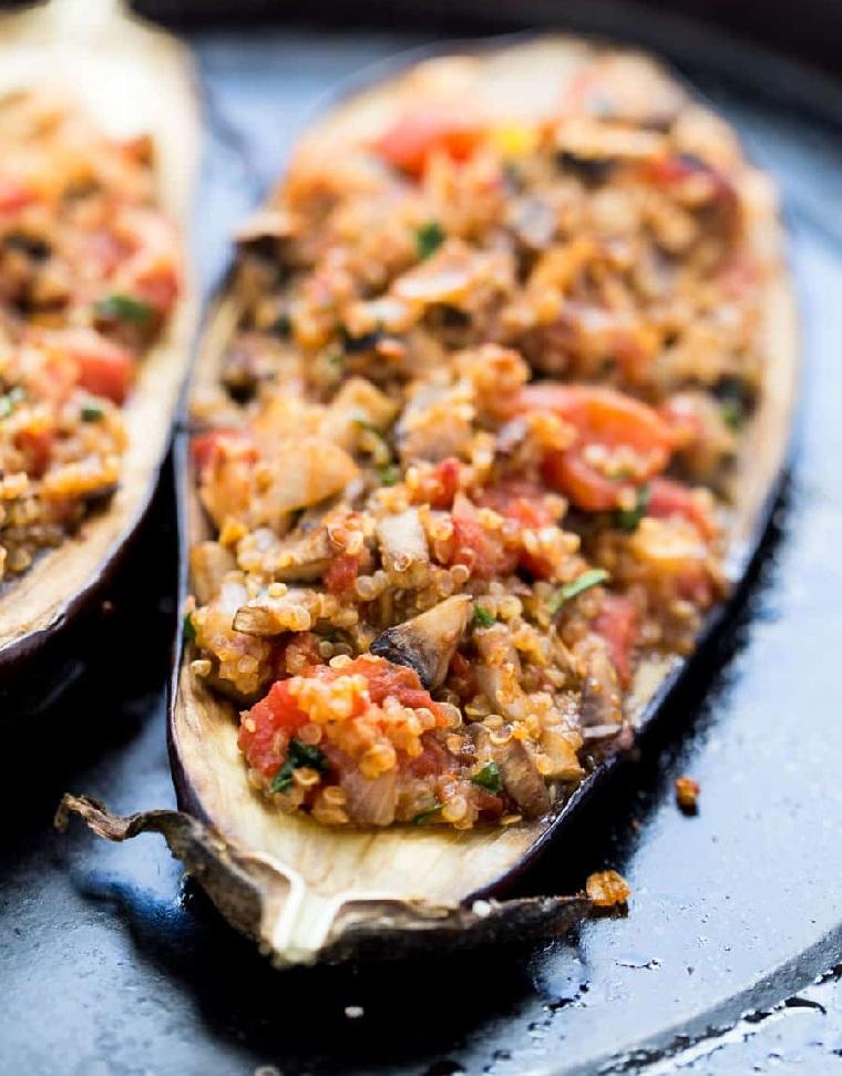aubergine farcie au quinoa riche