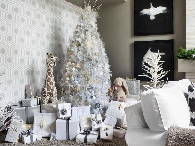 blanca navidad-estilo-arbol-ideas