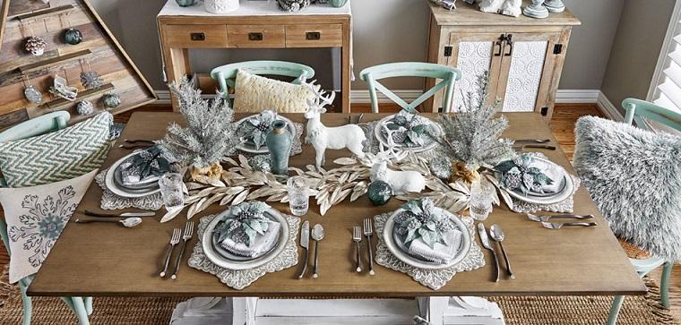 table à manger-noël-blanc