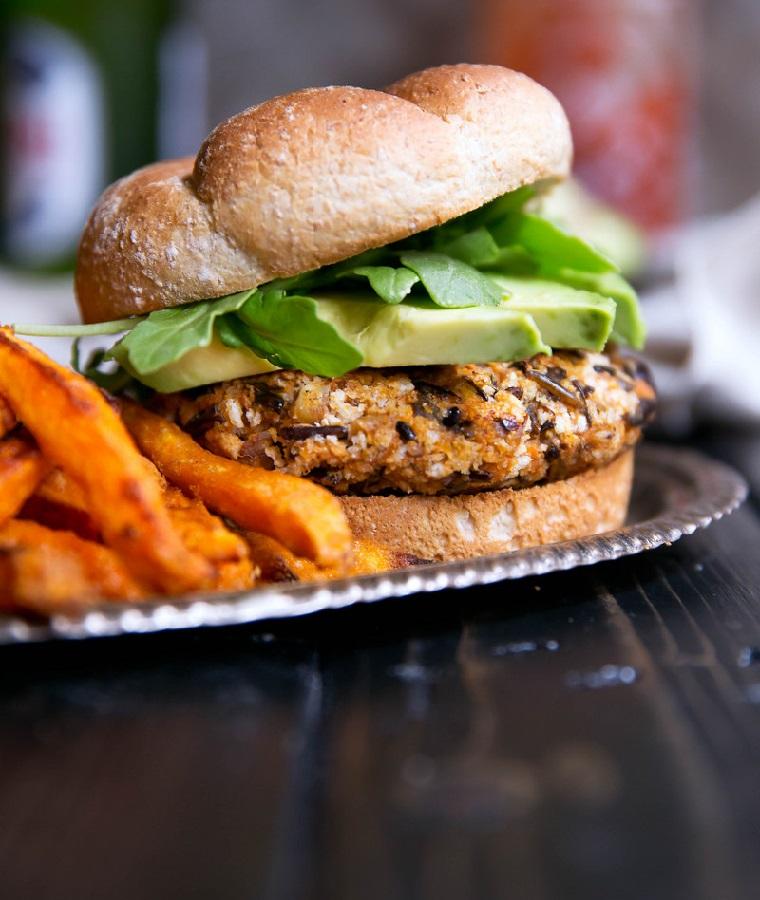 végétalien hamburgers-riz sauvage-patate douce-recette