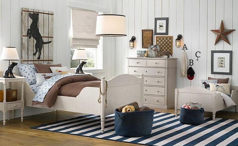 chambre à coucher-enfants-blanc-tapis-rayures-idées