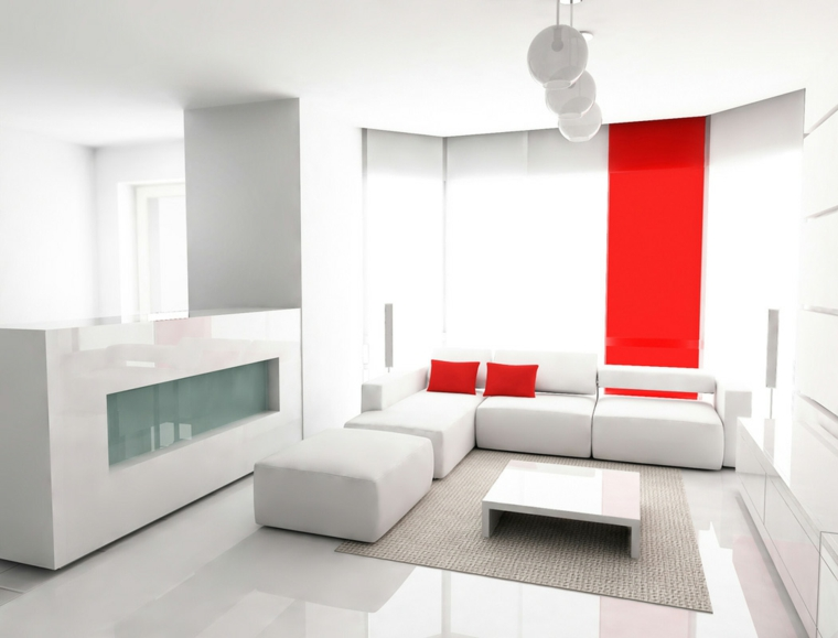 chambres minimalistes-blanc-rouge