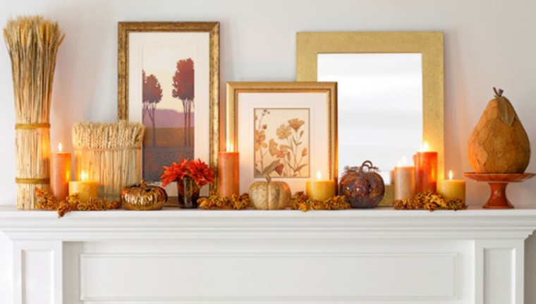 décorer la cheminée avec des bougies