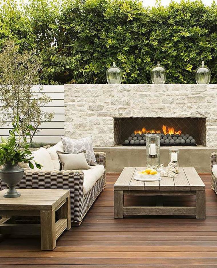 terrasse avec cheminée moderne