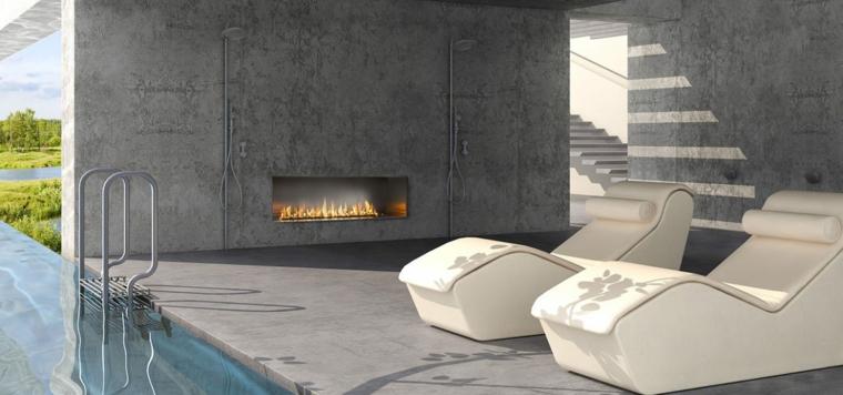patio avec cheminée dans un style moderne