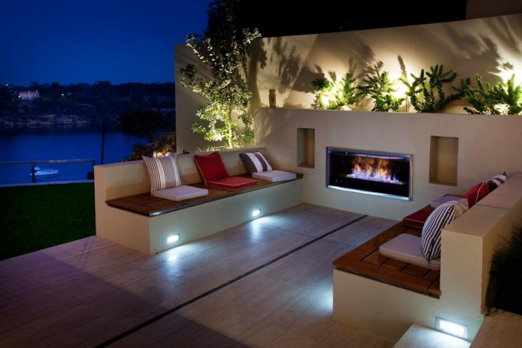 motifs de jardin originaux avec cheminées modernes