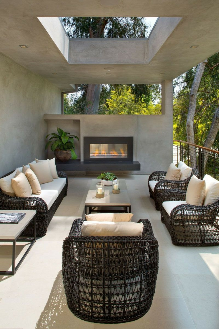 dessins originaux de patios avec cheminées