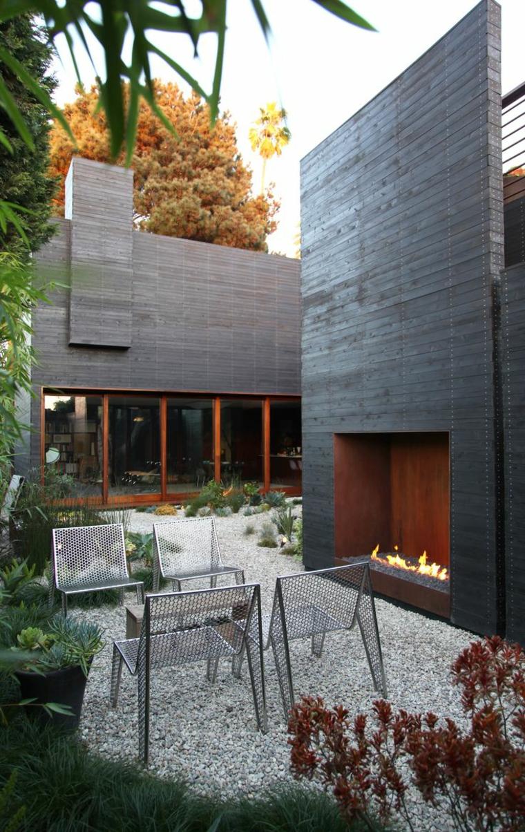 dessins de patios avec cheminées