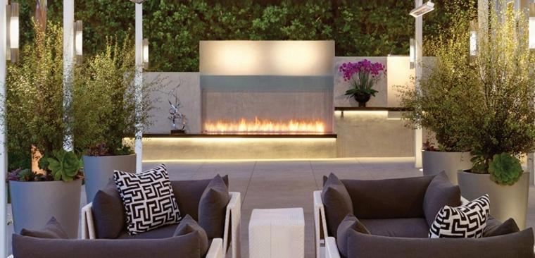 patios avec cheminées modernes