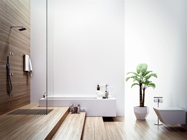 conceptions modernes de salle de bains en bois