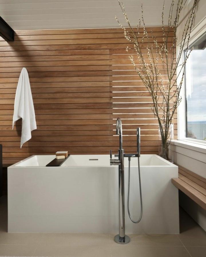 salle de bain conçoit des branches de plantes