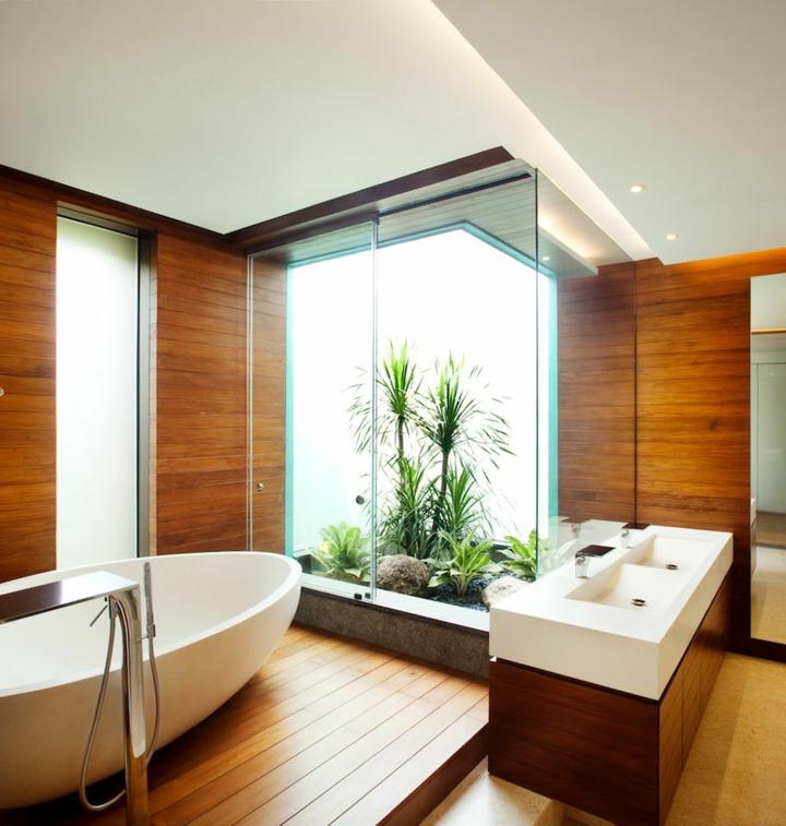 salle de bains conçoit des marches en bois