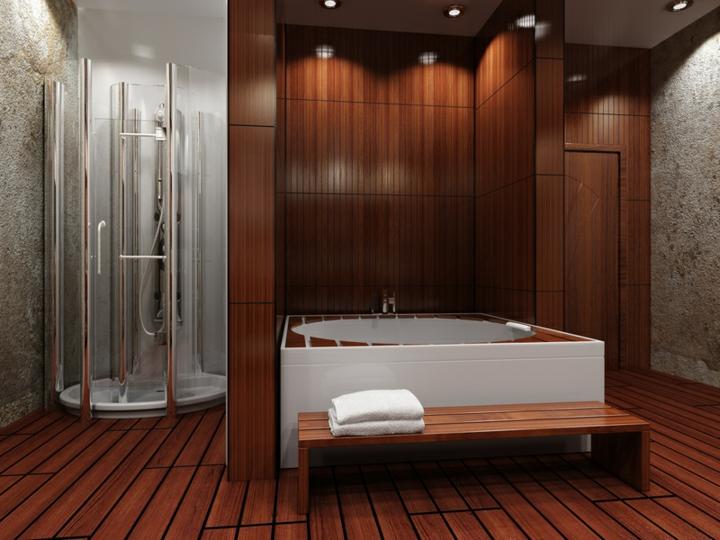 détails-bois-style de salle de bain-spa