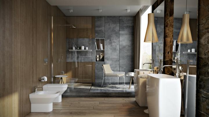 style combiné bois-marbre