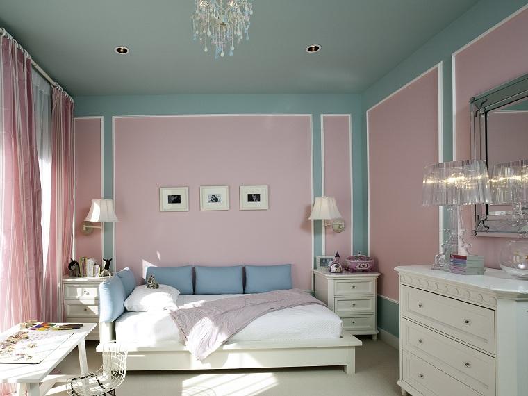 conception des chambres peintes en rose-bleu