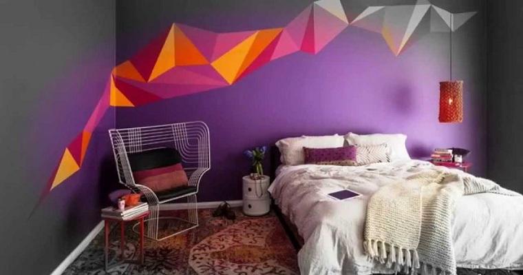 conception de salles peintes-gris-violet