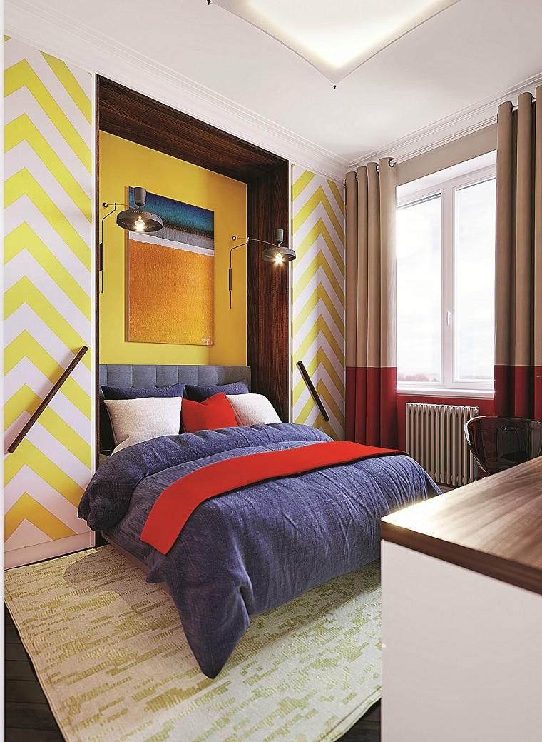 idées-rayures-jaune-mur-blanc-chambre