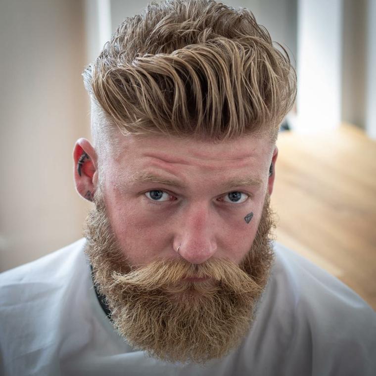 coupes de cheveux homme 2019-barbe-blonde