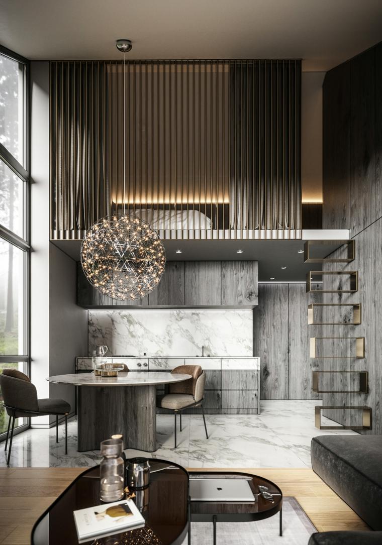 cuisine en bois gris et marbre