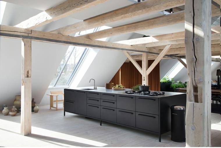 cuisine-noir-colonnes-bois-options-design