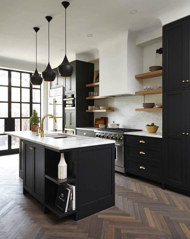 cuisines-étagères-bois-options noires