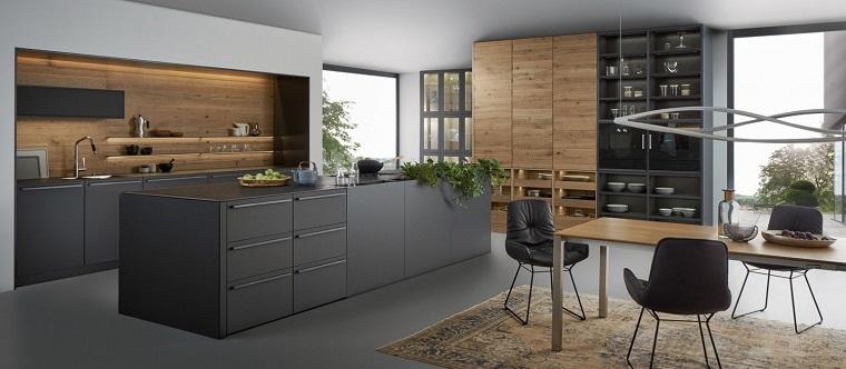 cuisines noires en bois style contemporain
