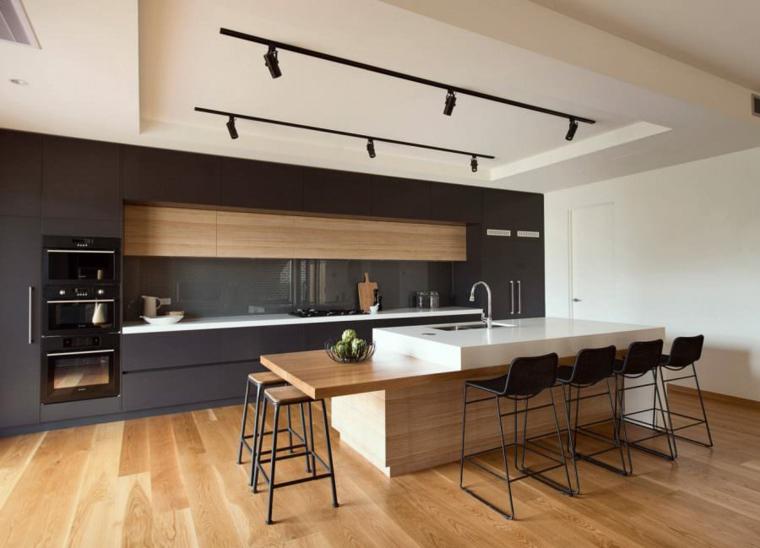 cuisines-maison-noire-design-moderne-bois
