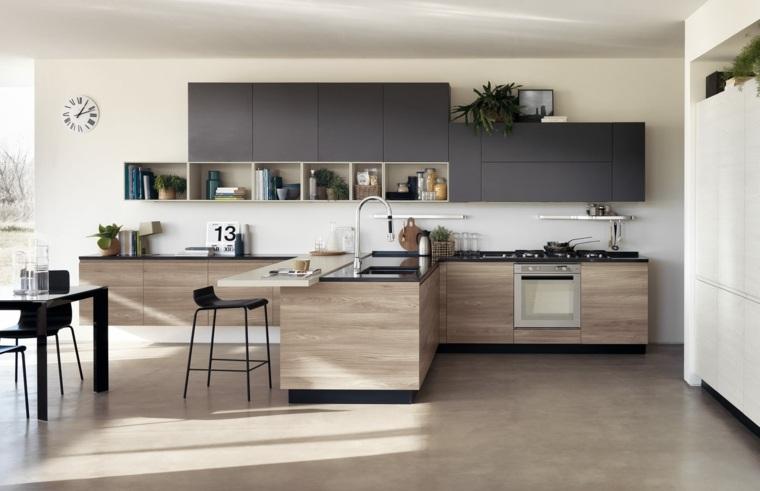 meubles-noir-cuisine-design-bois
