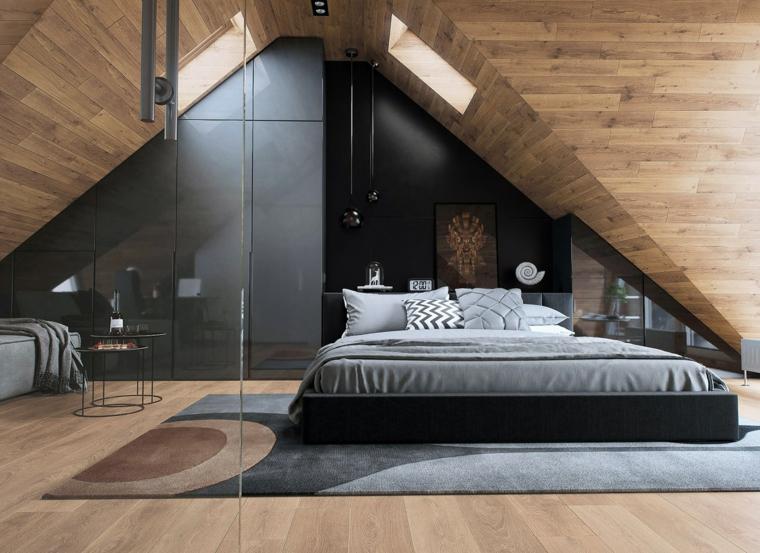 chambre mansardée décoration bois