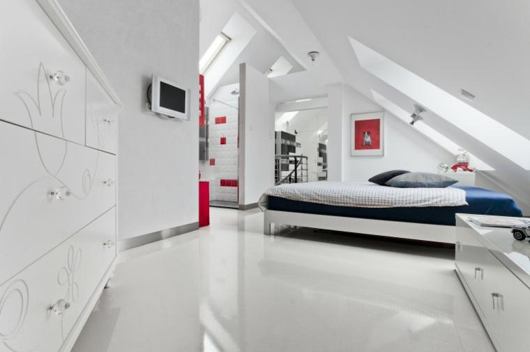 chambre mansardée avec mobilier blanc