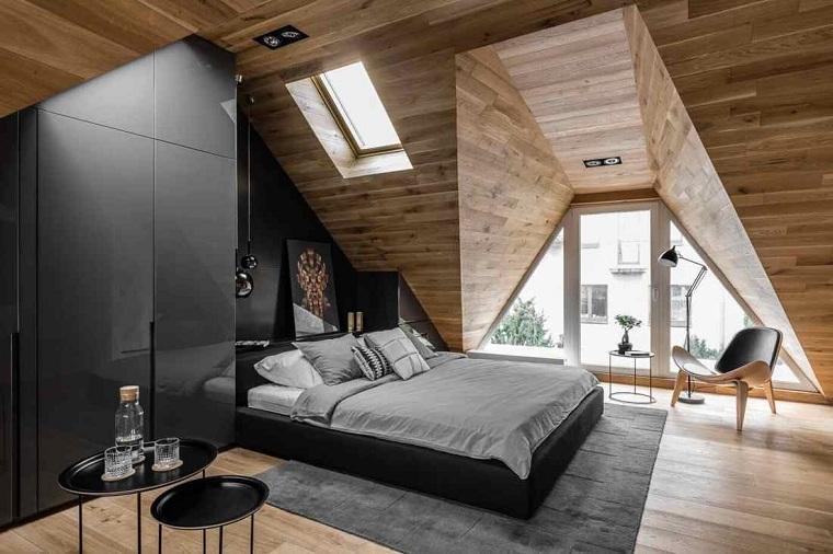 chambre avec lit noir
