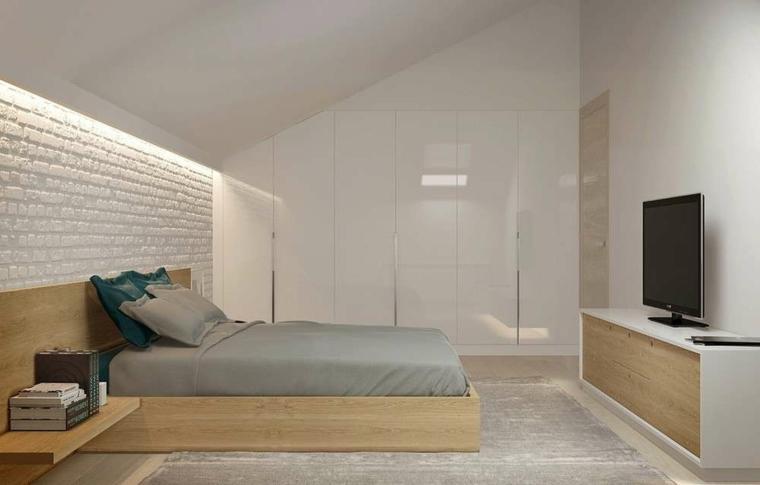 chambre lit-bois-murs-blanc