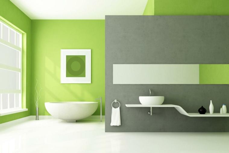 décoration intérieure-couleur verte-salle de bain