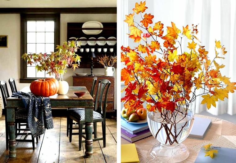 idées de décoration-feuilles-branches