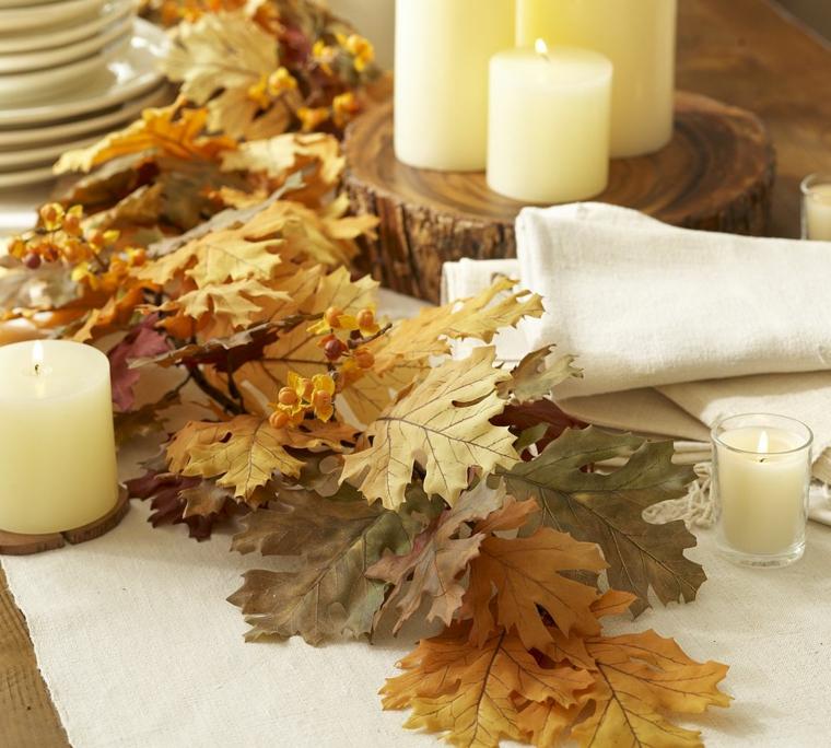 décoration dintérieur-table-feuilles-automne