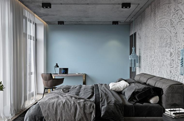 chambre à coucher en bleu et blanc