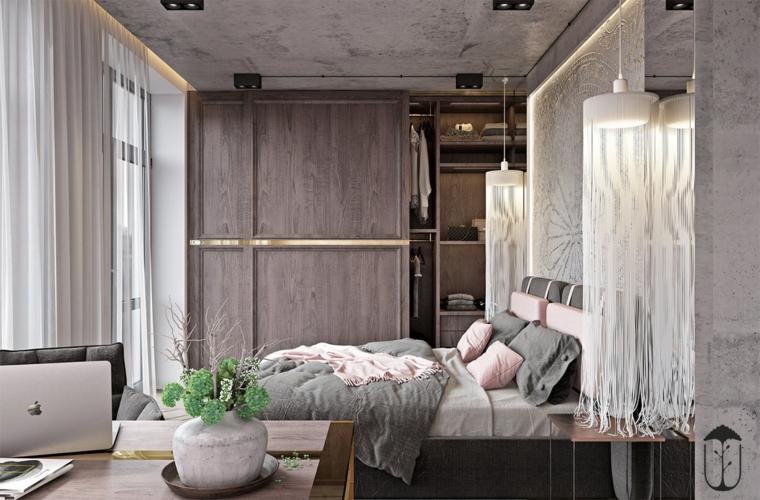 chambre à coucher en rose pâle