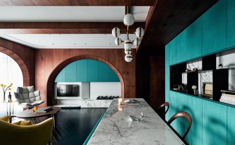 décoration moderne de couleur turquoise