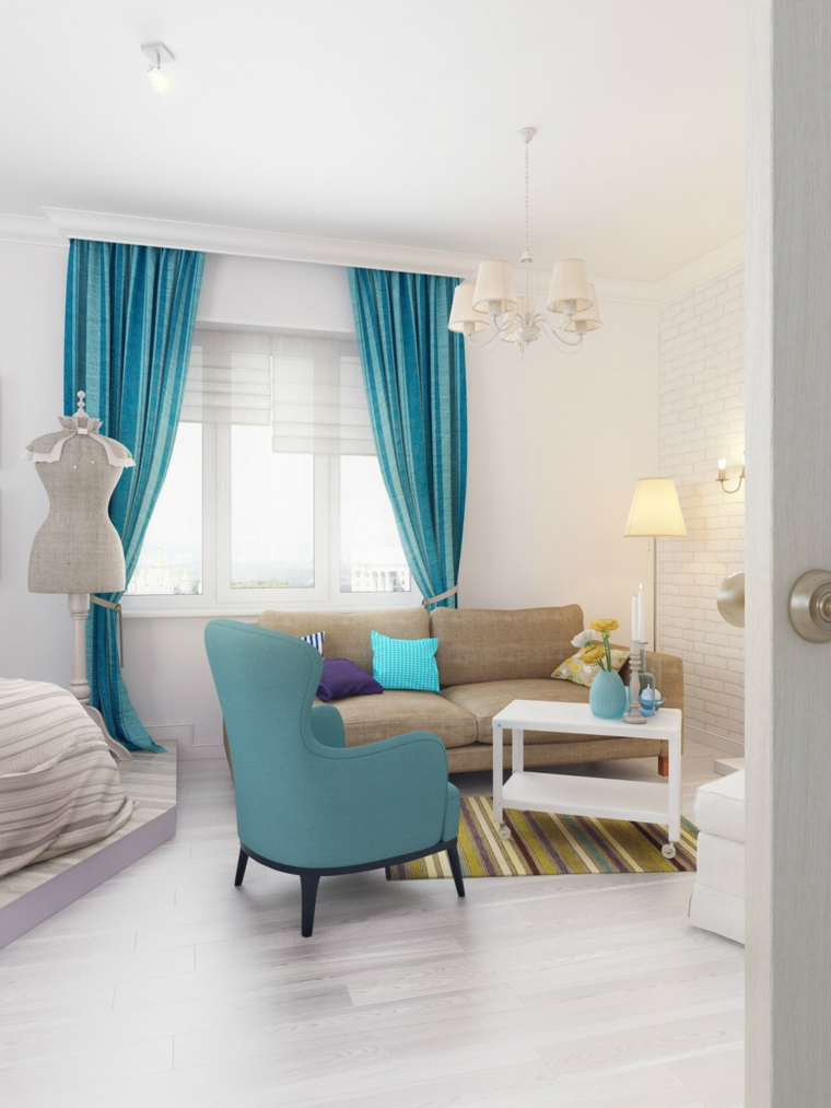 décoration des chambres modernes-turquoise-accents