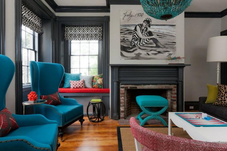décoration moderne-accents-couleur-turquoise