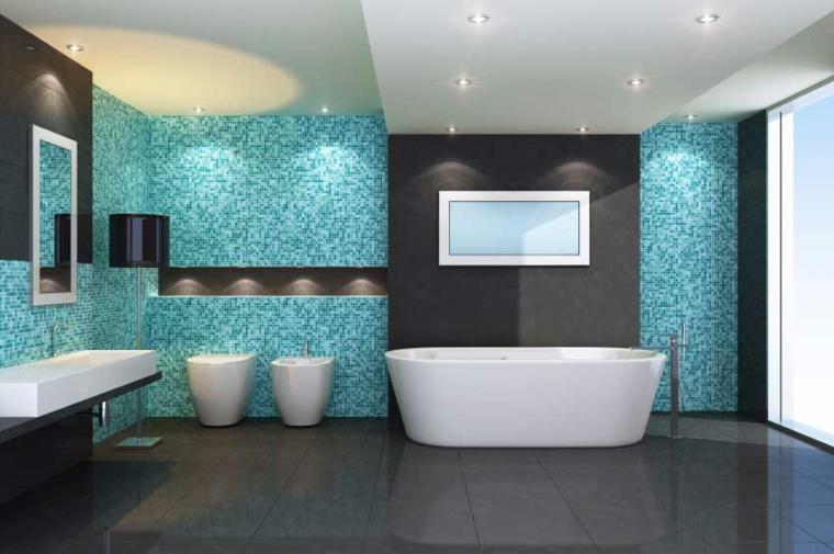 dessins de chambres-salles de bains-accents de turquoise