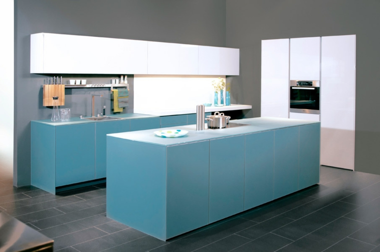 intérieurs modernes - accents turquoises