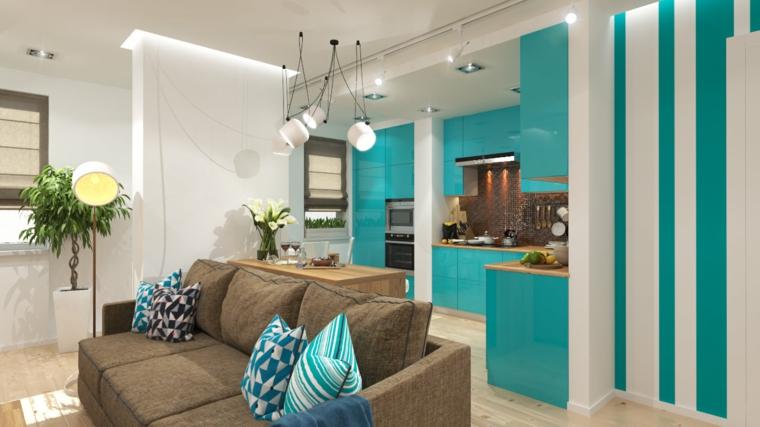 intérieurs modernes-couleur-turquoise
