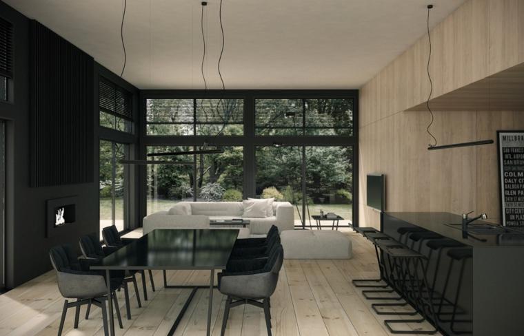 décoration-de-chambres-et-diner-mobilier-noirs