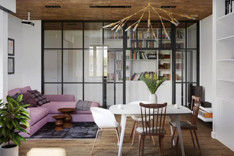 décoration-de-chambres-et-diner-sofa-rose