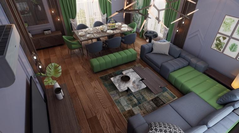 décoration-de-chambres-et-salle-diner-vert-gris