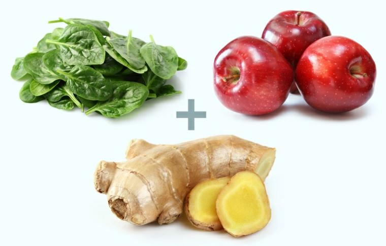aliments aux épinards, pommes et gingembre